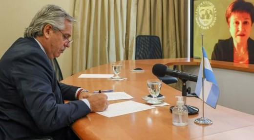 Alberto Fernandez en conferencia virtual con Kristalina Georgieva