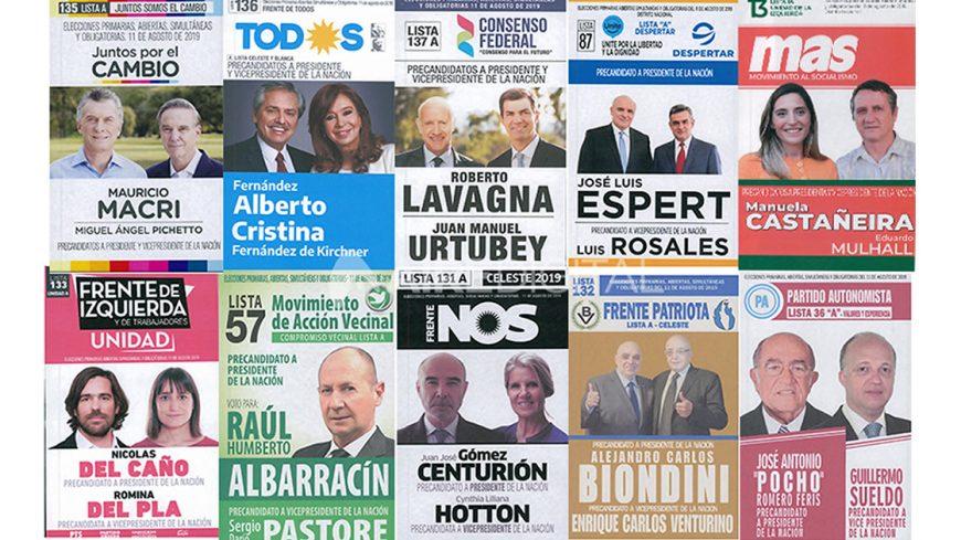 Boletas de las primarias presidenciales de 2019. Ningún partido dirimió sus candidatos en las PASO