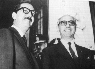 El presidente de Brasil Jânio Quadros junto a Arturo Frondizi el 21 de abril de 1961 en Uruguayana.