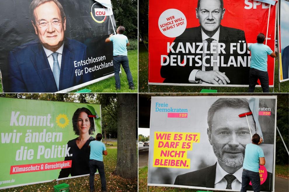 Afiches de los principales candidatos para las elecciones al Parlamento en Alemania. 2021.Fuente: Reuters